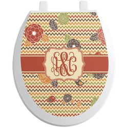 Chevron & Fall Flowers Toilet Seat Decal (Personalized)