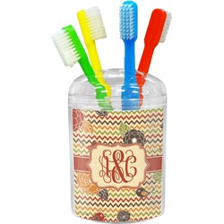 Chevron & Fall Flowers Toothbrush Holder (Personalized)