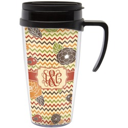 Chevron & Fall Flowers Travel Mug with Handle (Personalized)