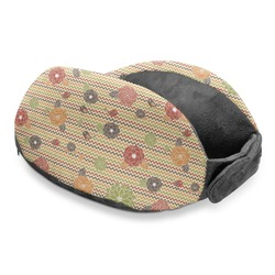 Chevron & Fall Flowers Travel Neck Pillow (Personalized)