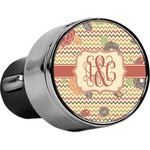 Chevron & Fall Flowers USB Car Charger (Personalized)