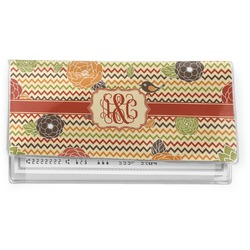 Chevron & Fall Flowers Vinyl Checkbook Cover (Personalized)