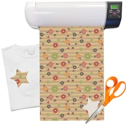 "Chevron & Fall Flowers Heat Transfer Vinyl Sheet (12""x18"")"