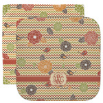 Chevron & Fall Flowers Facecloth / Wash Cloth (Personalized)