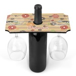 Chevron & Fall Flowers Wine Bottle & Glass Holder (Personalized)