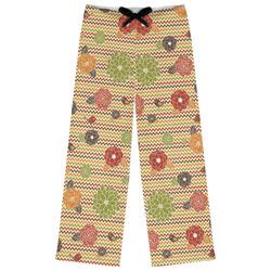 Chevron & Fall Flowers Womens Pajama Pants (Personalized)