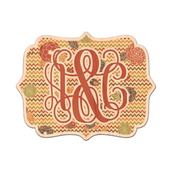 Chevron & Fall Flowers Genuine Maple or Cherry Wood Sticker (Personalized)