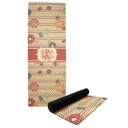 Chevron & Fall Flowers Yoga Mat (Personalized)
