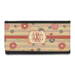 Chevron & Fall Flowers Leatherette Ladies Wallet (Personalized)