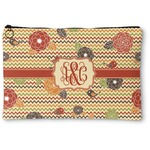 Chevron & Fall Flowers Zipper Pouch (Personalized)