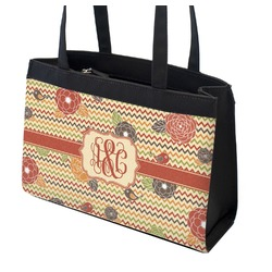 Chevron & Fall Flowers Zippered Everyday Tote (Personalized)