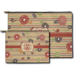 Chevron & Fall Flowers Zipper Pouch (Personalized)