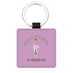 Doctor Avatar Genuine Leather Rectangular Keychain (Personalized)