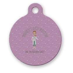 Doctor Avatar Round Pet ID Tag (Personalized)