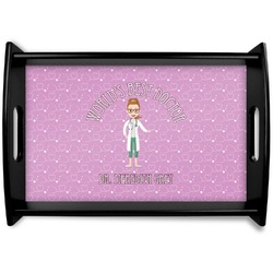 Doctor Avatar Black Wooden Tray (Personalized)