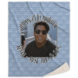 Photo Birthday Sherpa Throw Blanket (Personalized)