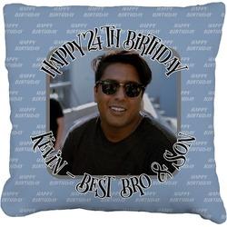 "Photo Birthday Faux-Linen Throw Pillow 26"" (Personalized)"