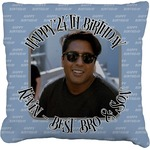 Photo Birthday Faux-Linen Throw Pillow (Personalized)