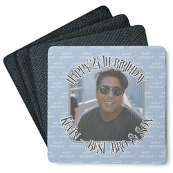 Photo Birthday 4 Square Coasters - Rubber Backed (Personalized)