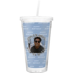 Photo Birthday Double Wall Tumbler with Straw (Personalized)
