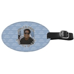 Photo Birthday Genuine Leather Oval Luggage Tag (Personalized)