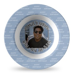 Photo Birthday Plastic Bowl - Microwave Safe - Composite Polymer (Personalized)