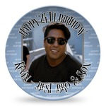 Photo Birthday Microwave Safe Plastic Plate - Composite Polymer (Personalized)