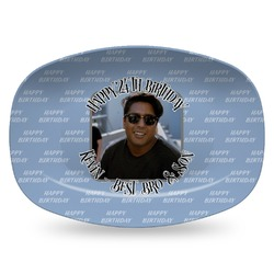 Photo Birthday Plastic Platter - Microwave & Oven Safe Composite Polymer (Personalized)