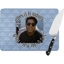 Photo Birthday Rectangular Glass Cutting Board (Personalized)