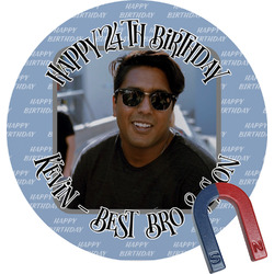 Photo Birthday Round Fridge Magnet