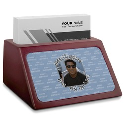 Photo Birthday Red Mahogany Business Card Holder (Personalized)