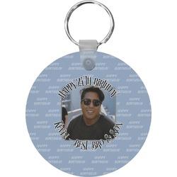 Photo Birthday Round Plastic Keychain