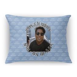 Photo Birthday Rectangular Throw Pillow Case (Personalized)