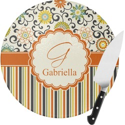 Swirls, Floral & Stripes Round Glass Cutting Board - Small (Personalized)