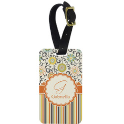 Swirls, Floral & Stripes Metal Luggage Tag w/ Name and Initial