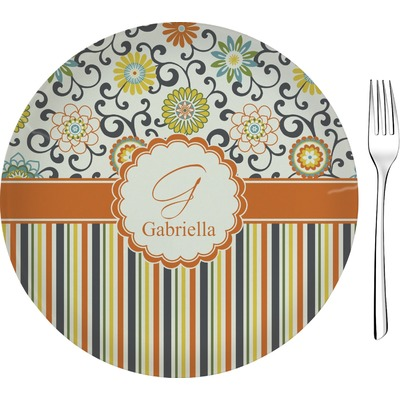 "Swirls, Floral & Stripes 8"" Glass Appetizer / Dessert Plates - Single or Set (Personalized)"