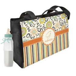 Swirls, Floral & Stripes Diaper Bag (Personalized)