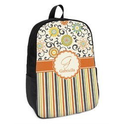 Swirls, Floral & Stripes Kids Backpack (Personalized)