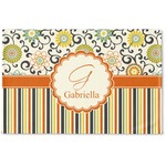 Swirls, Floral & Stripes Woven Mat (Personalized)