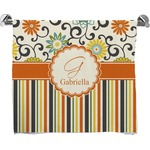 Swirls, Floral & Stripes Full Print Bath Towel (Personalized)