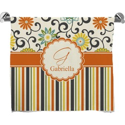 Swirls, Floral & Stripes Full Print Bath Towel (Personalized)
