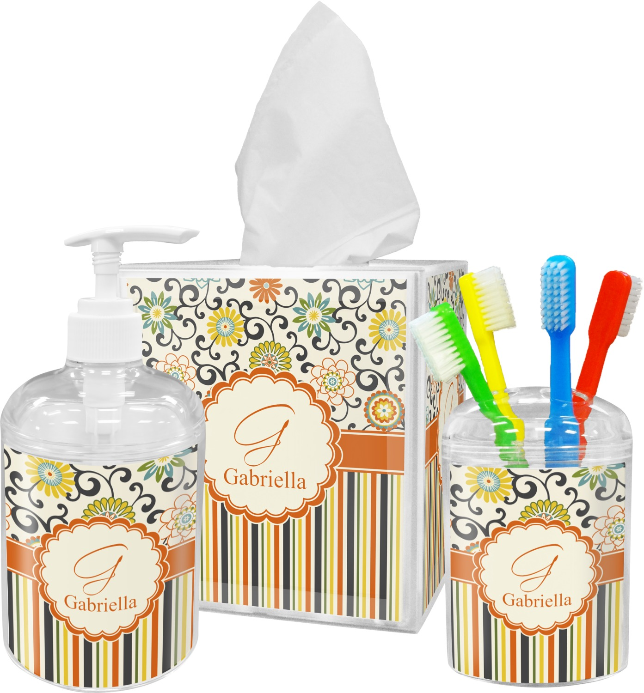 Swirls Floral Stripes Bathroom Accessories Set