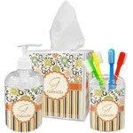 Swirls, Floral & Stripes Bathroom Accessories Set (Personalized)