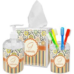 Swirls, Floral & Stripes Bathroom Accessories Set (Personalized)