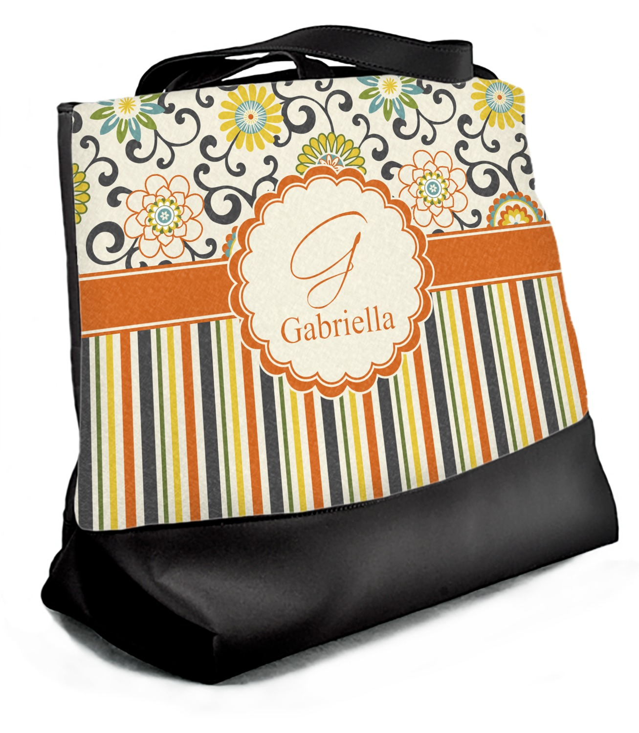 Personalized Swirly Floral Zippered Everyday Tote Front /& Back