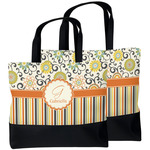Swirls, Floral & Stripes Beach Tote Bag (Personalized)