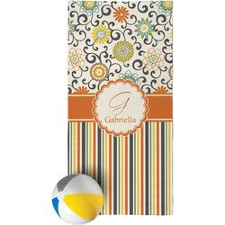 Swirls, Floral & Stripes Beach Towel (Personalized)