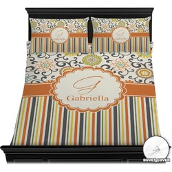 Swirls, Floral & Stripes Duvet Cover Set (Personalized)