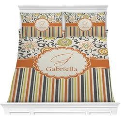 Swirls, Floral & Stripes Comforter Set (Personalized)