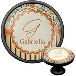 Swirls, Floral & Stripes Cabinet Knob (Black) (Personalized)